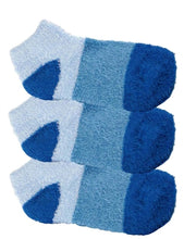 Three pairs of blue aloe infused ankle socks. The socks feature a design with three various shades of the same color, with darker areas at the toe and heel areas.