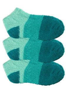 Three pairs of green aloe infused ankle socks. The socks feature a design with three various shades of the same color, with darker areas at the toe and heel areas.