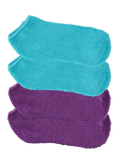 Four pairs of solid colored purple and aqua socks. Two pairs of each color. These are fuzzy socks infused with aloe vera.