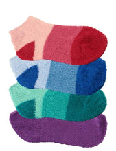Four pairs of aloe infused ankle socks. An assortment of red, blue, green, and purple fuzzy socks. Some socks feature a design with three various shades of the same color, with darker areas at the toe and heel areas. Other socks are solid in a single shade of the color.