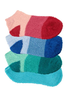 Four pairs of aloe infused ankle socks. An assortment of red, blue, and green fuzzy socks. Some socks feature a design with three various shades of the same color, with darker areas at the toe and heel areas. Other socks are solid in a single shade of the color.