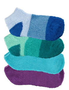 Four pairs of aloe infused ankle socks. An assortment of blue, green, and purple fuzzy socks. Some socks feature a design with three various shades of the same color, with darker areas at the toe and heel areas. Other socks are solid in a single shade of the color.