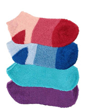 Four pairs of aloe infused ankle socks. An assortment of red, blue, and purple fuzzy socks. Some socks feature a design with three various shades of the same color, with darker areas at the toe and heel areas. Other socks are solid in a single shade of the color.