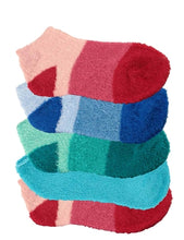 Five pairs of aloe infused ankle fuzzy socks. An assortment of red, blue, green, and purple fuzzy socks. Some socks feature a design with three various shades of the same color, with darker areas at the toe and heel areas. Other socks are solid in a single shade of the color.