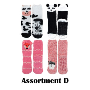 Animal Non-Slip Fuzzy Socks - 4 Pair Assortment