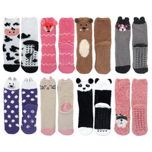 All eight designs available for this product. They include cows, foxes, dogs, cats, polar bears, pandas, and raccoons. Non-slip rubber grips on the bottoms of the socks, and all are roughly ankle length.