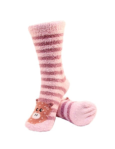 One pair of pink and brown horizontally striped fuzzy socks. There is a playful spotted pig face stitched into the top of the foot section of the sock. The sock is crew length, going a few inches over the ankle.