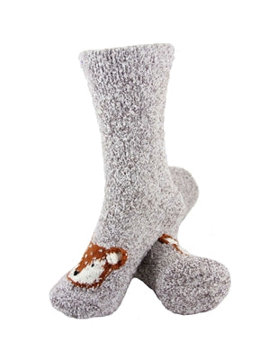 One pair of grey fuzzy socks. There is a playful brown fox face stitched into the top of the foot section of the sock. The sock is crew length, going a few inches over the ankle.