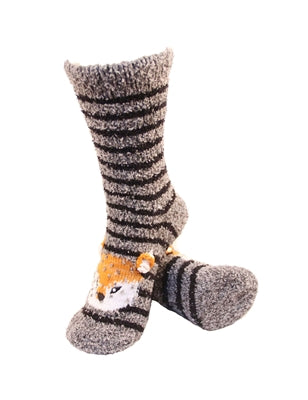 One pair of grey and black horizontally striped fuzzy socks. There is a playful fox face stitched into the top of the foot section of the sock. The sock is crew length, going a few inches over the ankle.
