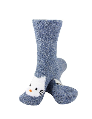 One pair of blue fuzzy socks. There is a playful Hello Kitty face stitched into the top of the foot section of the sock. The sock is crew length, going a few inches over the ankle.