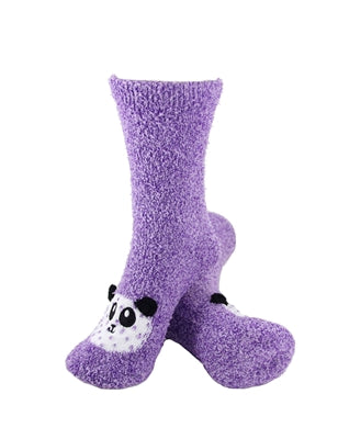 One pair of purple fuzzy socks. There is a playful panda face stitched into the top of the foot section of the sock. The sock is crew length, going a few inches over the ankle.