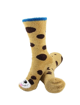 One pair of tan fuzzy socks. There is a playful dog face stitched into the top of the foot section of the sock, and black spots across the rest of the sock. The sock is crew length, going a few inches over the ankle.