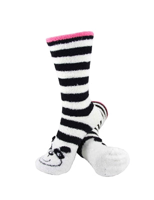 One pair of black and white horizontally striped fuzzy socks. There is a playful black and white bear face stitched into the top of the foot section of the sock. The sock is crew length, going a few inches over the ankle.