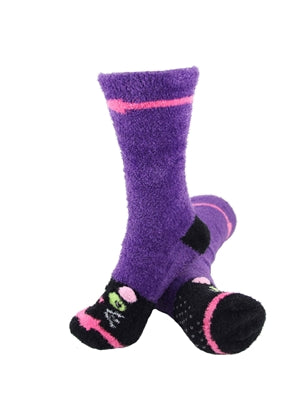 One pair of purple fuzzy socks. There is a playful black cat face stitched into the top of the foot section of the sock. The sock is crew length, going a few inches over the ankle.