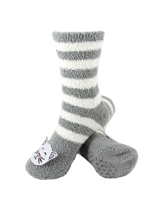 One pair of grey and white horizontally striped fuzzy socks. There is a playful white cat face stitched into the top of the foot section of the sock. The sock is crew length, going a few inches over the ankle.