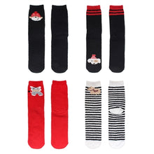 Christmas Cute Fuzzy Crew Socks - 4 Pair Assortment