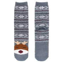 One pair of fuzzy Christmas socks. These are grey with white snowflakes, with a reindeer stitched at the bottom.