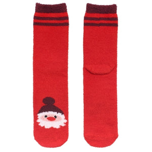 One pair of fuzzy Christmas socks. These are red, with Santa Claus stitched at the bottom.