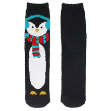 One pair of fuzzy Christmas socks. These are black, with a penguin wearing a winter scarf and earmuffs.