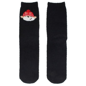 One pair of fuzzy Christmas socks. These are black, with a monkey wearing a winter hat stitched at the top.