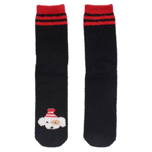 One pair of fuzzy Christmas socks. These are black with three red stripes at the top, with a dog wearing a winter hat stitched at the bottom.
