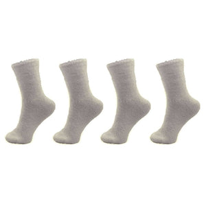 Soft Grey Fuzzy Socks
