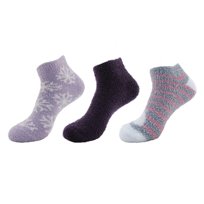 Feather Yarn Soft Fuzzy Ankle Socks - 3 Pairs