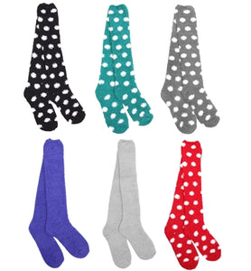 Knee High Fuzzy Microfiber Socks Assortment- 6 Pairs
