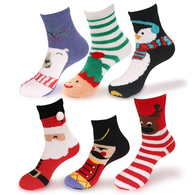 Christmas Super Soft Fuzzy Sock Pack - 6 Pairs
