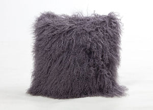 A square pillow made of tibetan sheep fur. The fur is approximate two inches in length and is wolf colored.
