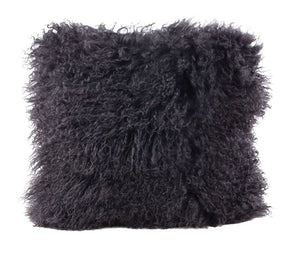 A square pillow made of tibetan sheep fur. The fur is approximate two inches in length and is charcoal colored.
