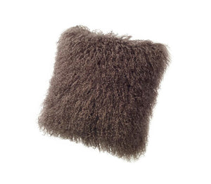 A square pillow made of tibetan sheep fur. The fur is approximate two inches in length and is portabella colored.