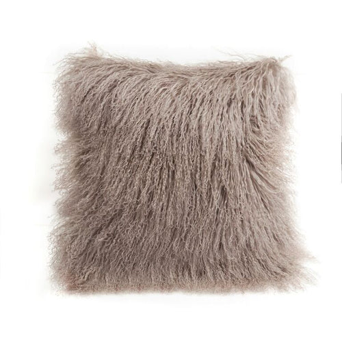 A square pillow made of tibetan sheep fur. The fur is approximate two inches in length and is birch colored.