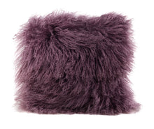 A square pillow made of tibetan sheep fur. The fur is approximate two inches in length and is bloom colored.