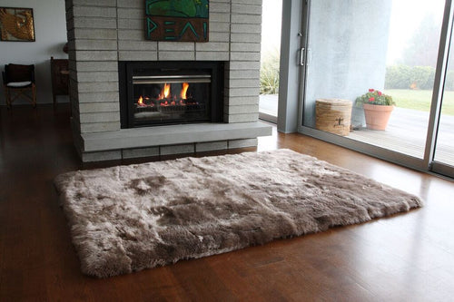Long Wool Sheepskin Square Rug