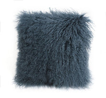 A square pillow made of tibetan sheep fur. The fur is approximate two inches in length and is slate colored.