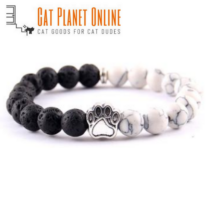 Natural Stone-Energy Two-Tone Cats Paw Charm Bracelet - Cat Planet Online