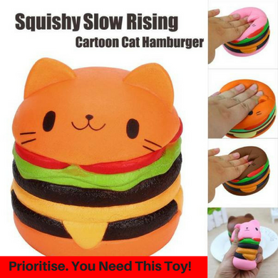 Cartoon Cat Hamburger Scented Slow Rising Toy - Cat Planet Online