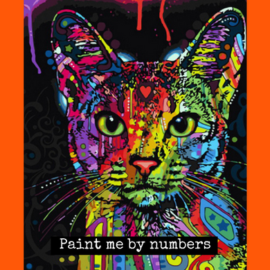 Abstract Cat Painting By Numbers Oil Painting Kit - Cat Planet Online