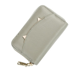 Women's Business Card Holder Purse In Genuine Leather - Cat Planet Online