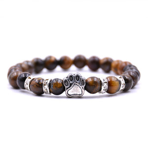 Natural Stone Mala Beads Cat Paw Footprint Charm Bracelet - Cat Planet Online
