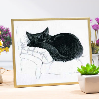 Black Cat Embroidery Kit - Cat Planet Online
