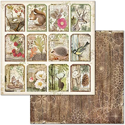 Stamperia Forest Tags - Double Face Paper 30 x 30 SBB660