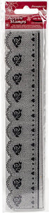 Stamperia Natural Rubber Stamps 4x18cm - Lace with Rose Pattern - WTK136