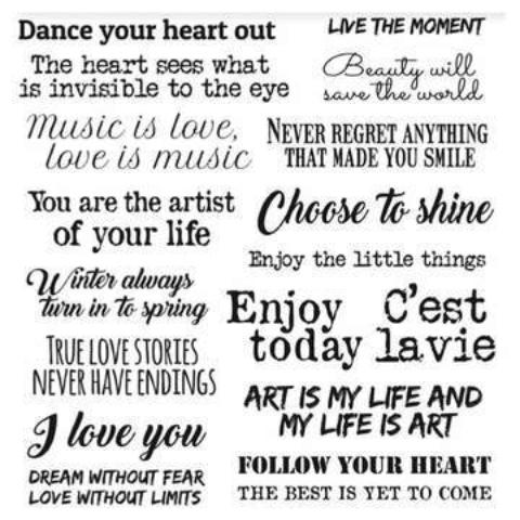 New Stamperia Adhesive Paper Circles - Art and Love Phrases DFL007