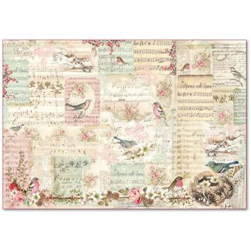 NEW Stamperia 48 x 33 Decoupage Rice Paper -Sweet Christmas Notes & Sparrow DFS383