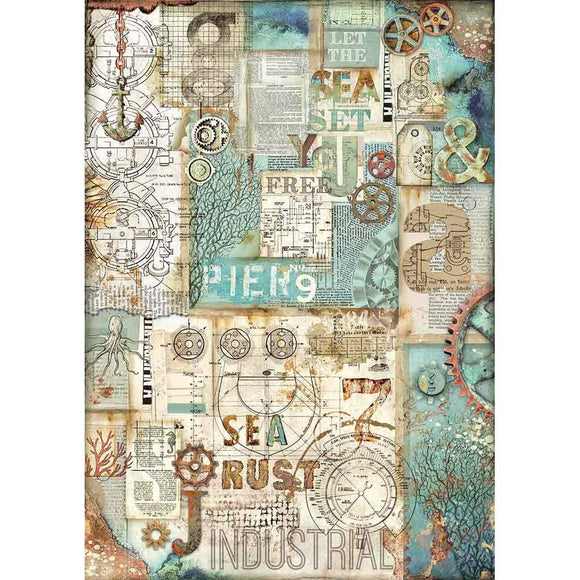 Stamperia Decoupage Rice Paper A3-  Sea World Rust DFSA3053