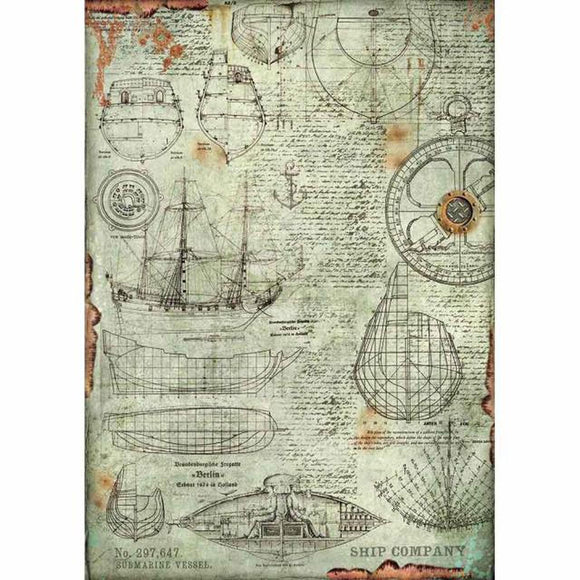 Stamperia Decoupage Rice Paper A3-  Sea World Boat Project DFSA3054