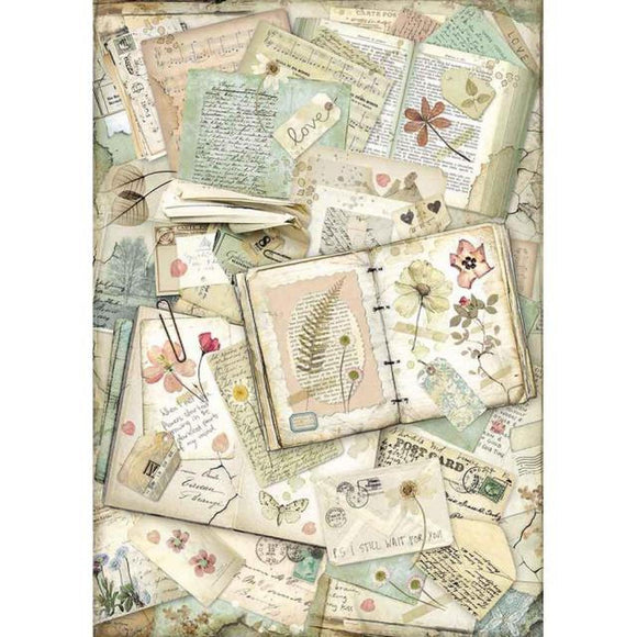 Stamperia Decoupage Rice Paper A3-  Imagine Notebooks DFSA3055
