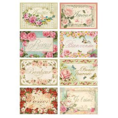 Stamperia A4 Decoupage Rice Paper -  Tags With Words DFSA4073